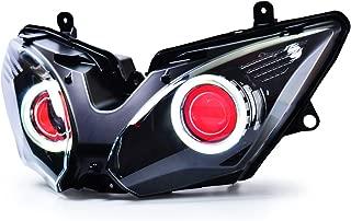 KT LED Angel Eye Headlight Assembly for Kawasaki Ninja 650 2017-2019 Red Demon Eye