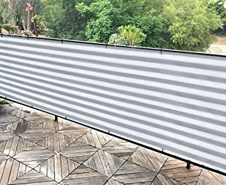 ALION HOME Elegant Privacy Screen for Backyard Fence, Pool, Deck, Patio, Balcony, Outdoor Paneling and Outdoor Screening- Include Zip Ties (Grey/White) (3 x 16 FT)