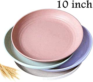 """Wheat Straw Plastic Plates- Dinnerware Set/ Dishwasher & Microwave Safe, BPA Free And Healthy Cereal Dishes/ Reusable-Unbreakable Dinner Plate, Perfect for Kids-toddler & Adult (XL-10""""x4pcs)"""