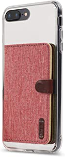 Ringke Flip Card Holder ID Adhesive 3M Premium Stick Fashion Multi-Card Slot Wallet Case Credit Card Cash Pouch Attachment Compatible with Most Smartphones, Android and More - Red