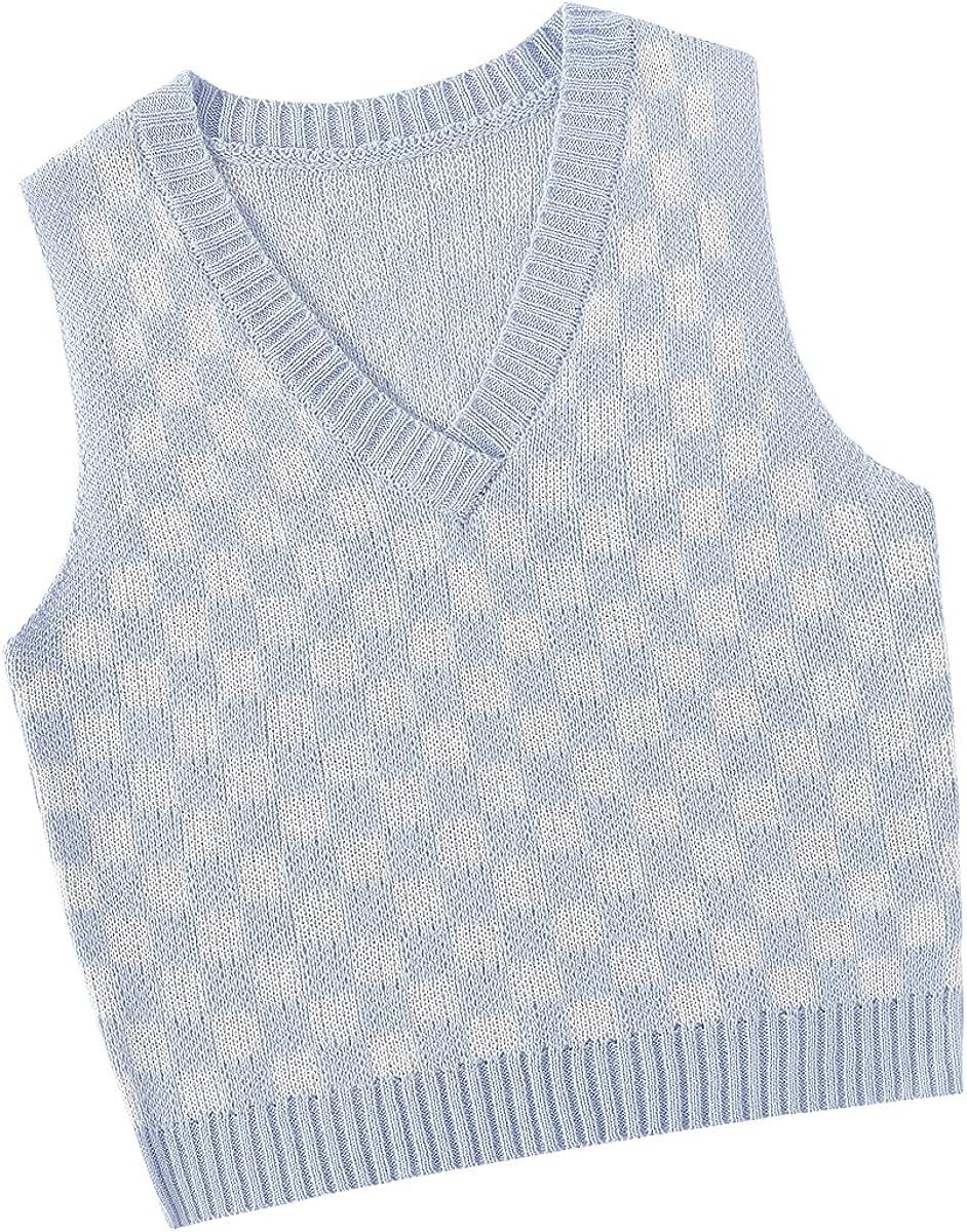 SweatyRocks Women's Sleeveless Gingham Pattern Sweater Vest