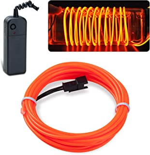 Lychee EL Wire Neon Glowing Strobing Electroluminescent Light El Wire w/Battery Pack for Parties, Halloween Decoration (Orange, 15ft)