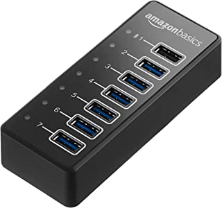 AmazonBasics USB-C 3.1 7-Port Hub with Power Adapter - 36W Powered (12V/3A), Black
