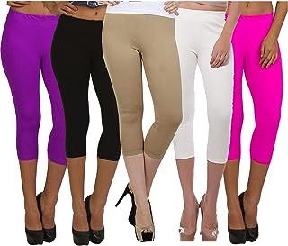 Fablab Women's Cotton Capri Pants/Leggings westernwear Capri_CLS_190-5-16PuBBeWP,Free Size,PurpleBlackBeigeWhitePink