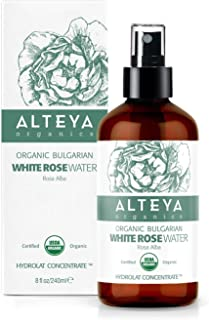 Alteya Organic White Rose Water Spray 240ml Glass bottle- 100% USDA Certified Organic Authentic Pure Natural Rosa Alba Flower Water Steam-Distilled and Sold Directly by the Rose Grower Alteya Organics
