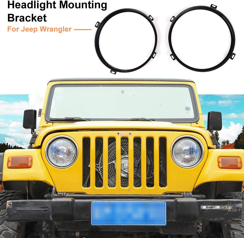 Round Headlight Mounting Bracket Rings for 2007-2018 Jeep Wrangl
