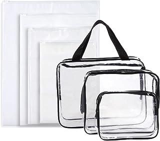 مجموعة من 7 حقائب سفر لأدوات الزينة - حقائب مكياج شفافة، عدد 3 حافظات مستحضرات تجميل بلاستيكية مقاومة للماء و4 أكياس بسحاب...
