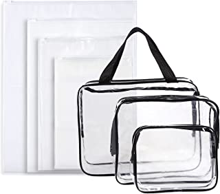 Set of 7 Travel Toiletry Bags - Clear Make-up Bags, 3-Count Waterproof Plastic Cosmetics Cases and 4-Count Zipper Pouches, Assorted Sized Organizer Kit for Traveling
