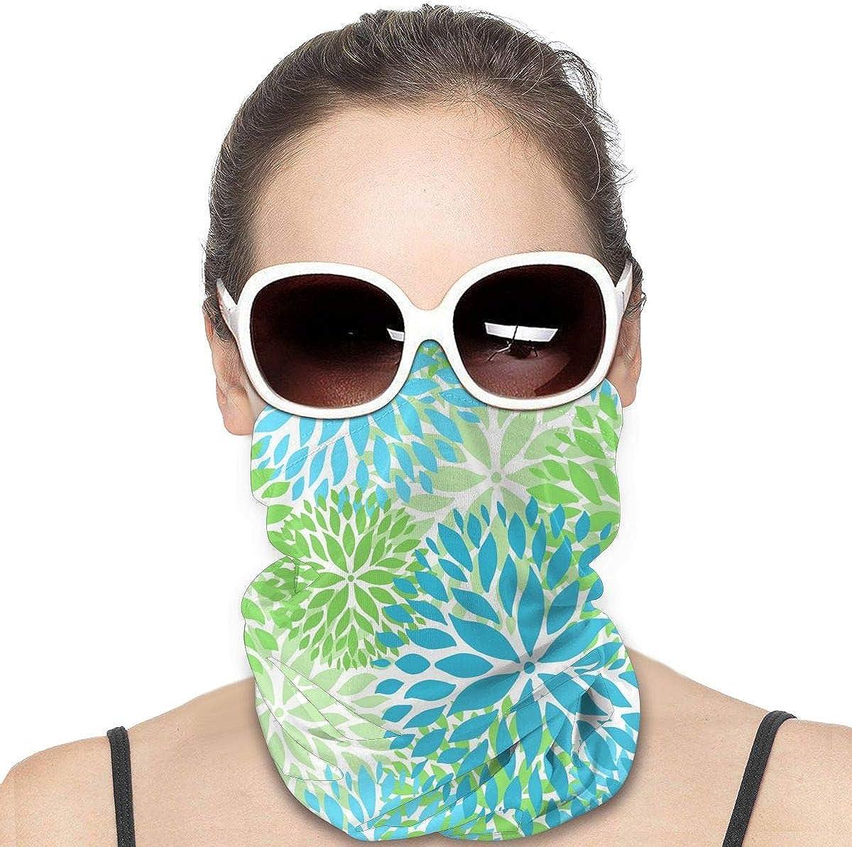 KiuLoam Women Bandanas Face Mask, Blue and Green Chrysanthemums Flowers Neck Gaiter Mask Headband for Men Face Scarf Dust, Outdoors, Sports