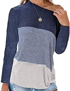 RDHOPE Women Plus-size Baggy Style Color Block Fall Winter Blouse Tee Shirt