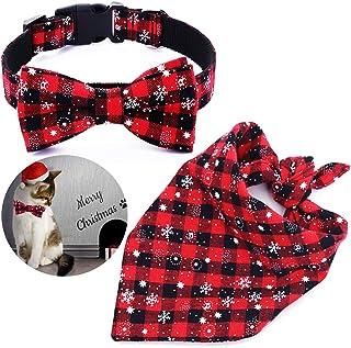 Malier Dog Bandana and Collar Set Pet Christmas Classic Plaid Snowflake Dog Scarf Triangle Bibs Kerchief