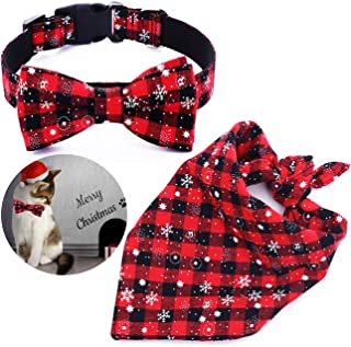 Malier Dog Bandana and Collar Set Pet Christmas Classic Plaid Snowflake Dog Scarf Triangle Bibs Kerchief Adjustable Collars with Bow Tie Pet Costume Accessories Decoration for Cats Dogs Pets