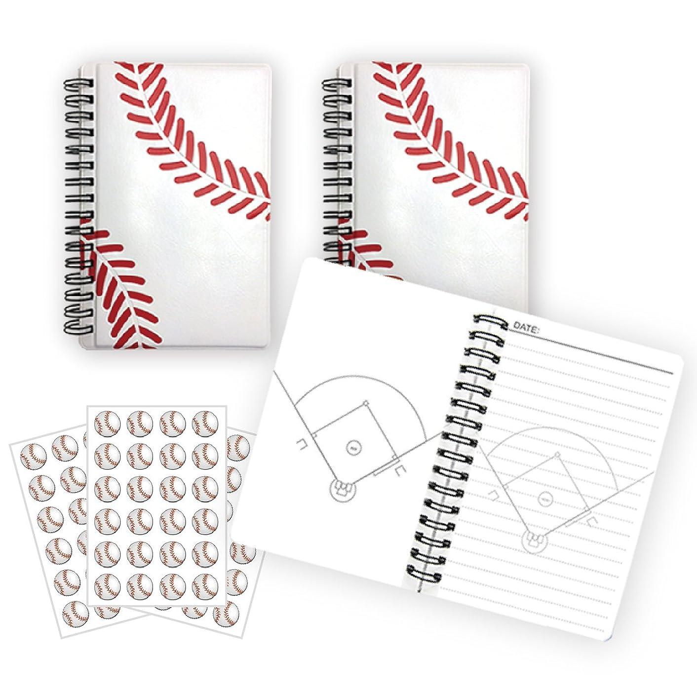 野球ノート(白ライン)【A6サイズ】作戦ノート3冊+シール3枚セット プライム