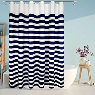 Eforcurtain Nautical Stripes Water-Repellent Fabric Shower Curtain, Navy and White,Standard Size 72-Inch by 72-Inch, Stripe