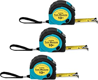 Where's My Tape Measure? - 3 Pack of 10 ft, Locking, Retractable Auto-Wind Measuring Tapes with Fractions. Accurate, Easy to Read & EASY TO FIND!