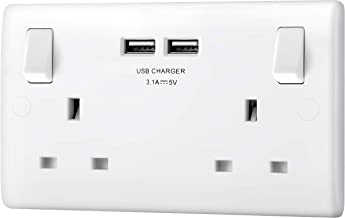13 Amp Electric Wall Socket CNBINGO Single Power Socket with 2 USB Charging Ports Black PC Plate Wall Outlet
