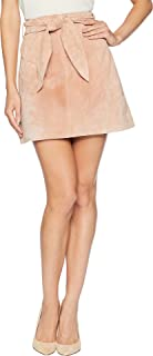 Blank NYC Women's Belted Pink Suede Skirt in Candy Crush