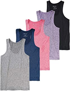 Real Essentials 5-Pack Women's Racerback Tank Top Dry-Fit Athletic Performance Yoga Activewear
