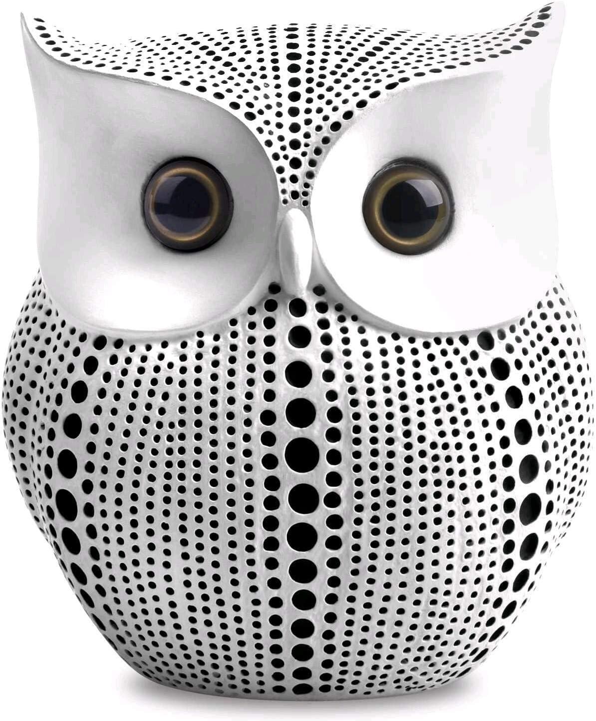 Owl Statues Office Decor - Owls Shelf Decor for Living Room Bathroom Bedroom Office Figurines White Owl Gifts for Women Men or Bird Lover,3.1
