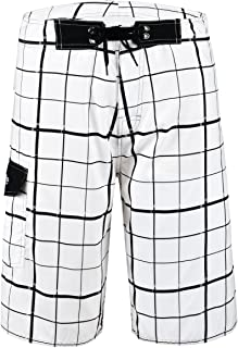 Nonwe Men's Beachwear Quick Dry Plaid Pattern Swim Trunks with Mesh Lining White 42