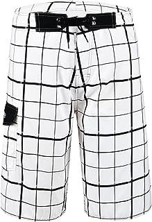 Nonwe Men's Quick Dry Beachwear Bathing Shorts Plaid Pattern White 34