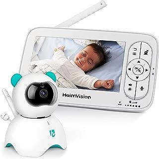 HeimVision ベビーモニターカメラセット 見守り 5インチ 暗視機能遠隔監視 2WAY双方向通話 出産祝い 720P HD子守唄/大容量充電池 日本語アプリ 技適認証済み HM136