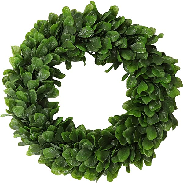 15 Inch Artificial Boxwood Wreath Feaux Green Leaves Round Garland Greenery Fake Home Decoration Hanging Indoor Wall Outdoor Door And Window
