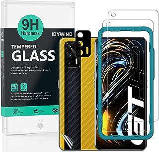 Ibywind Skärmskydd för Realme GT 5G,[paket med 2] med kameralinsskydd (Metallmaterial), bakre kolfiber skinnskydd, inklusi...
