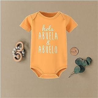 Holy Abuelo Y Abuela حروف مطبعة القليل ارتداءها طفل الفتيات أولاد بذلة ملابس ملابس صيف (Color : RX48-A003OG-, Kid Size : 12M)