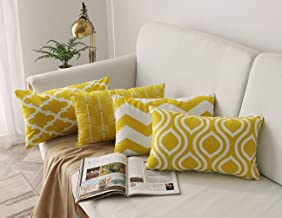 FanHomcy Yellow Throw Pillow Case Arrow Quatrefoil Ogee Chevron Accent Pillow Cover Modern Cushion Cover Lumbar Pillowcase Decoration for Sofa Bed Chair Car Set of 4, 12 x 20 Inch