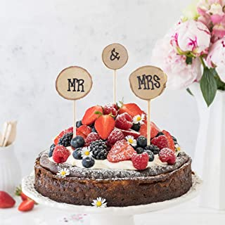 Wooden Round Mr Mrs Shabby Chic Rustic Wedding Cake Topper Pick Decoration
