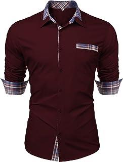 Men's Cotton Casual Long Sleeve Dress Shirt Plaid Collar Regular Fit Button Down Shirts