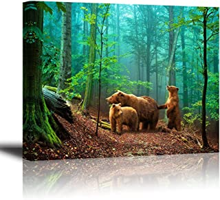 Brown Bear Wall Art for Kids Room, PIY Cute Animal Canvas Painting of Mother and Cub in Old-Growth Forest Picture, Adorable Family Wildlife Decor (1