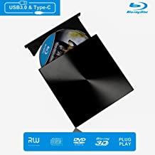 External Blu Ray DVD Drive, Portable DVD Drive 3D Player, USB 3.0 and Type-C Disc Burner Reader, Slim BD CD DVD RW ROM Writer Player Compatible with Laptop Desktop Windows 7/8/ 10
