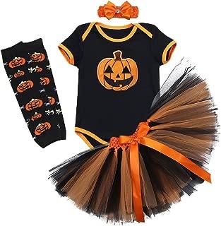 1st Halloween Outfit Girls Baby Pumpkin Romper + Ruffle Tulle Skirt +Headband +Leg Warmers Party Dress Clothes 4Pcs Set