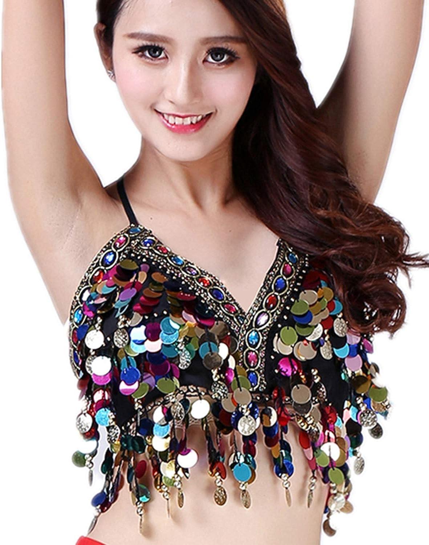 Anlydia Womens Long-awaited Glitter Sequin Tassel Sexy Latin Crop Top supreme Halter