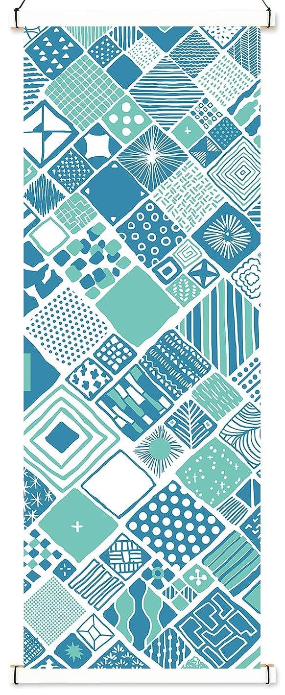 郵便物も効能あるAirashika(あいらしか) 和雑貨 捺染手ぬぐい『Pattern Box』 33×89cm 角型 タペストリー棒セット (カラータイプ/ホワイト)