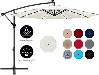 Best Choice Products 10ft Solar LED Offset Hanging Outdoor Market Patio Umbrella w/Easy Tilt Adjustment - Cream