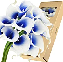 FiveSeasonStuff Real Touch Calla Lilies Artificial Flowers Wedding Bridal Bouquet Home Décor Party |Floral Arrangments | 15 Stems (Silk White & Abyss Blue)