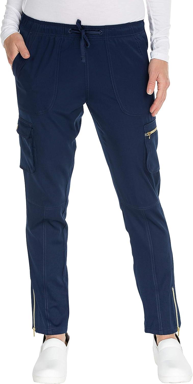 MediChic Women's 6 Pocket Gold Zipper and Snap Scrub Pants
