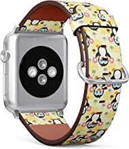 Compatible with Small Apple Watch 38mm & 40mm - Leather Watch Wrist Band Strap Bracelet with Stainless Steel Clasp and Adapters (Cute Penguin Donuts)