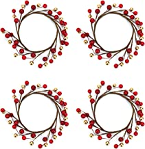 Rocinha 4 Pcs Pip Berry Candle Rings for Pillars, Candle Wreaths for Rustic Wedding Centerpiece & Table Decoration - Fits for 3.5 Inch in Diam Candles (Red and Gold)