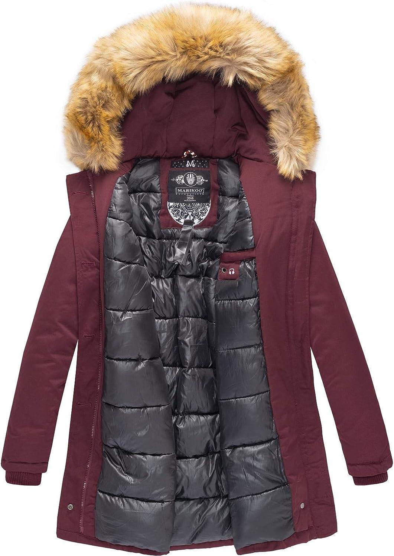 Marikoo Damen Winter Mantel Winterparka Karmaa XS-5XL Weinrot