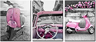 sunfrower Paris Room Decor Pink Canvas Retro Motorcycle Home Wall Decoration Travel Painting for Bedroom Pictures Print Framed 12inches × 16inches x 3 Piece Sets