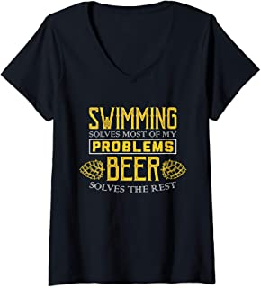 Womens Swimming Shirt - Solves Most Of My Problems - Beer Shirt V-Neck T-Shirt