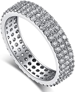 PAKULA Silver Plated Women Simulated Cubic Zirconia Eternity Stacking Wedding Ring Band