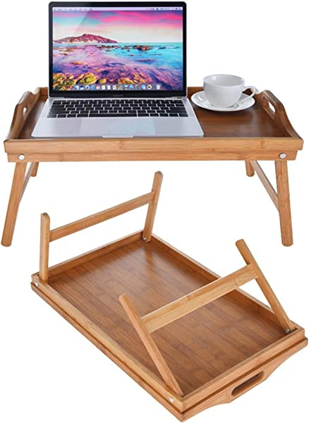 Breakfast Bed Tray Bamboo Portable Bed Desk Multifunctional Folding Table 20 X 12 X 9