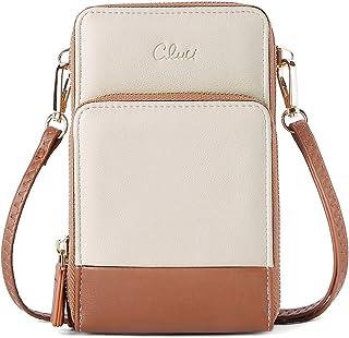 CLUCI Geldbörse Damen Leder Handy Umhängetasche Retro Portemonnaie Groß Damen Schultertasche mit Kartenfächer Beige