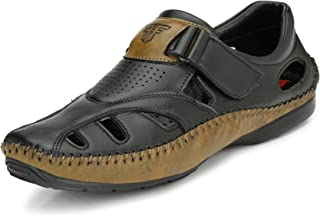 FASHION VICTIM Closed Toe Soft PU Leather Fisherman/Roman Sandals, Outdoor Adjustable Summer Sandal Shoes (UK6-Uk13)