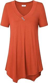 Ca Kra Women's Casual Tunic Tops, Short Sleeve V Neck Flowy Shirt for Leggings